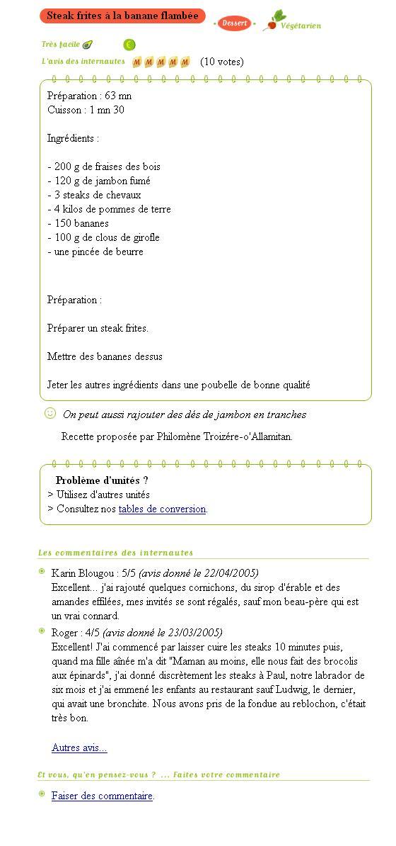 Le post du jour vous est offert par un célèbre site de cuisine - www.bonpourtonpoil.ch